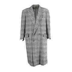 Cacharel 1980s Mens Oversized Monochrome Prince of Wales Check Overcoat