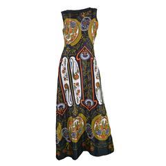 1960s Vintage Art Nouveau Print Maxi Dress