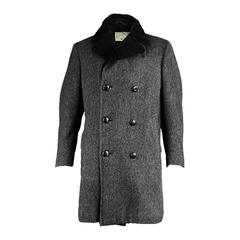 Aquascutum Men's Wool Herringbone Overcoat with Faux Fur Collar, 1960s