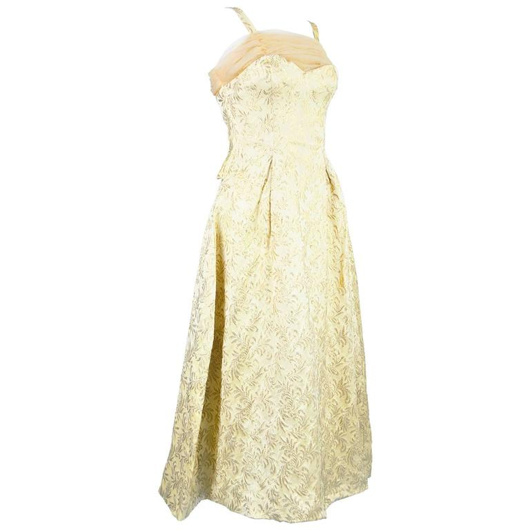 Gold Brocade Evening Gown with Chiffon Train, 1950s For Sale