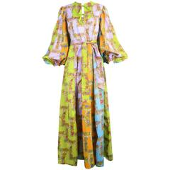 Belinda Bellville Rainbow Maxi Dress with Balloon Sleeves, c. 1970