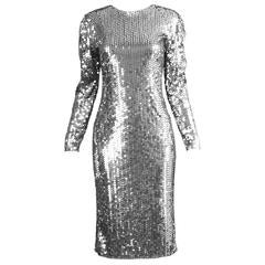 Halston Silver Sequin Dress with Deep Scoop Back, 1970s