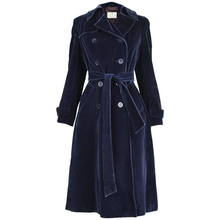 Aquascutum for Harrods Midnight Blue Velvet Peacoat, 1970s ...