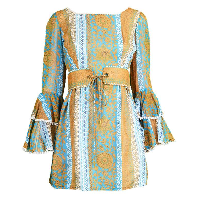 Koupy Boutique Cotton Voile Bell Sleeve Mini Dress, 1970s For Sale