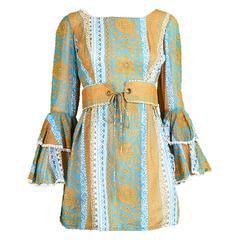 Koupy Boutique Cotton Voile Bell Sleeve Mini Dress, 1970s