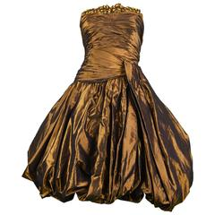 Jean-Louis Scherrer Couture Numbered Bronze Silk Taffeta Dress, 1980s