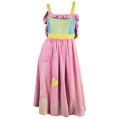 Pat Mariner Colour Block Suede Pinafore Dress, 1970s