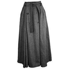 Georges Rech Dark Grey Wool Skirt, 1980s