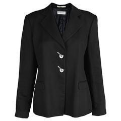 Emporio Armani Black Linen & Silk Women's Blazer, 1990s