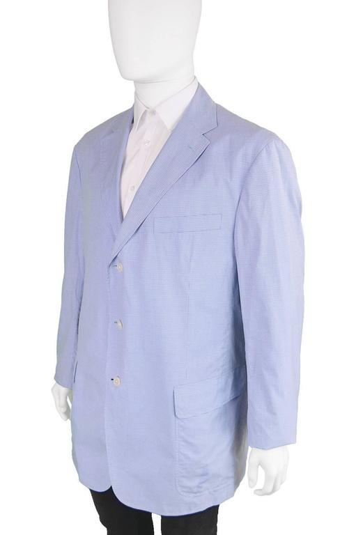 Ralph Lauren Men's Made in Italy Gingham Cotton Blazer, 1980s 3