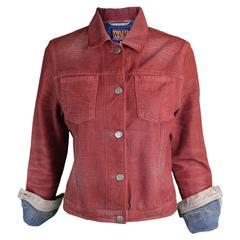 Walter van Beirendonck Red Distressed Coated Women's Denim Jacket, 1990s
