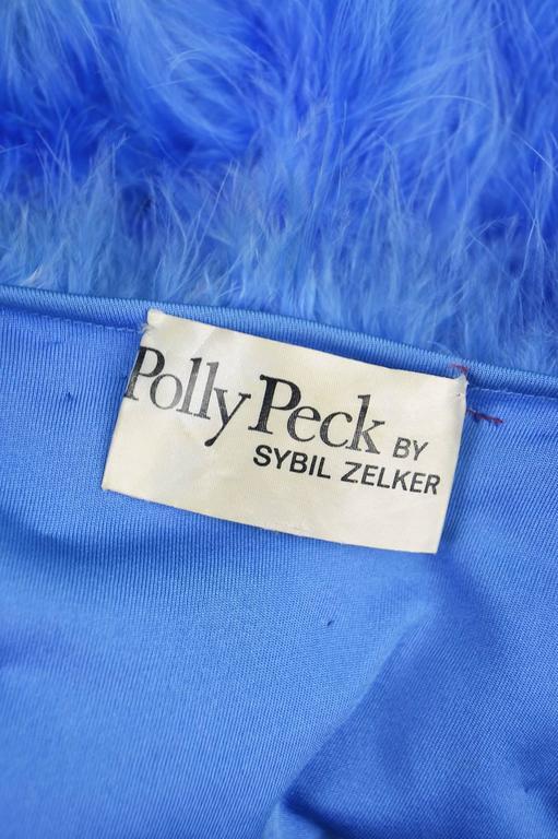 Vintage Blue Marabou Feather Bolero Jacket, 1960s  8