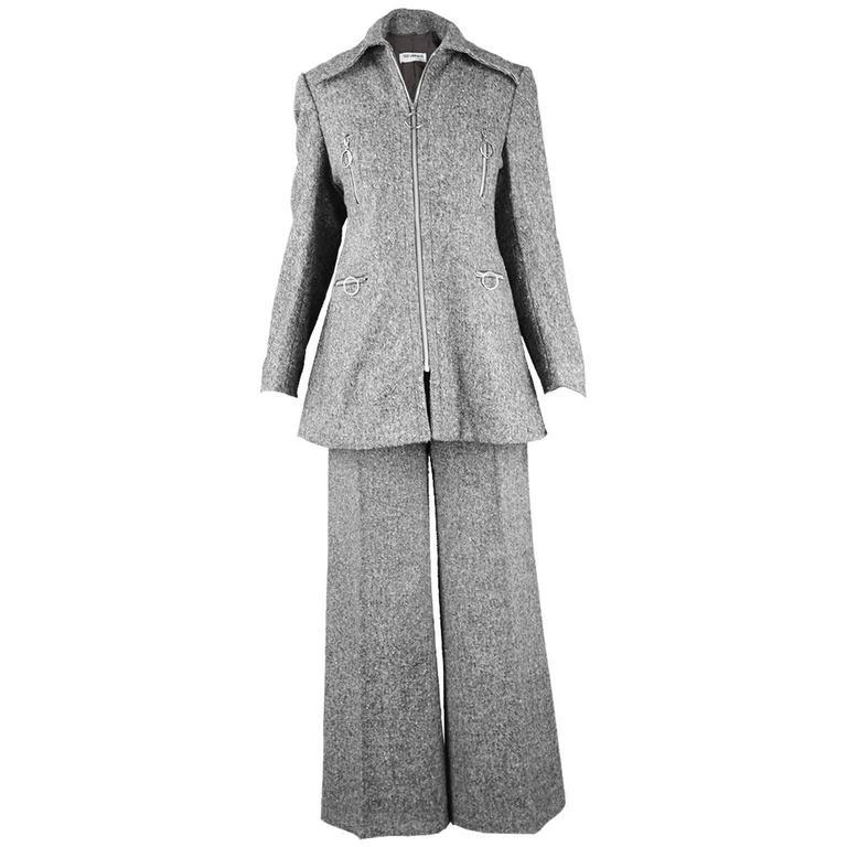 Ted Lapidus Vintage Grey Wool Tweed Womens Flared Pant Suit, 1970s