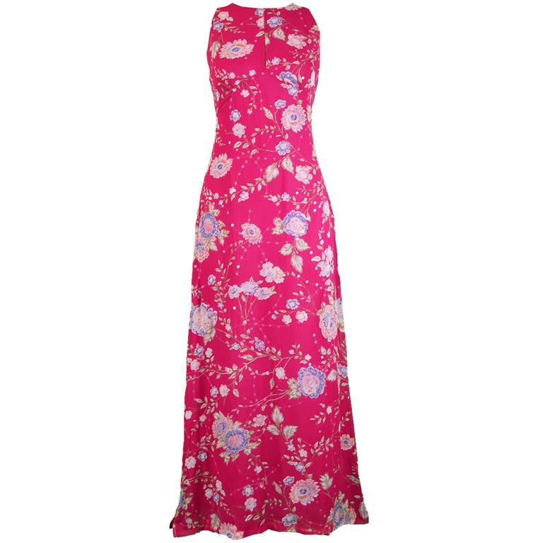 Emanuel Ungaro Vintage Fuschia Silk Floral Asian Maxi Dress, 1990s