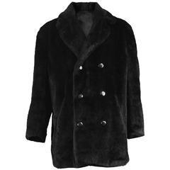 Hardy Amies for Hepsworths Men's Black Vintage Faux Fur Coat, 1970s