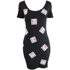 Moschino Vintage 'Cat Cut Moschino' Patch Bodycon Dress, 1990s
