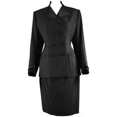 Hardy Amies Couture Vintage Black Hand Tailored Skirt Suit, 1960s