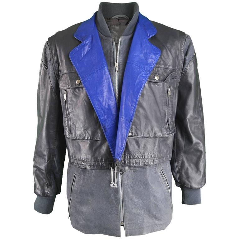 Claude Montana Men's Lambskin Leather Jacket with Detachable Vest, 1980s