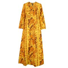 1960s Early Janice Wainwright for Simon Massey Vintage Maxi Kaftan Dress