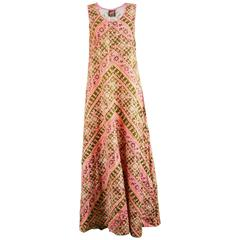 Anokhi Vintage Indian Cotton Pink & Green Maxi Column Dress, 1970s