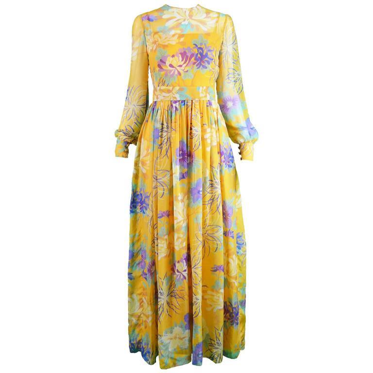 Léonor Barral French Demi Couture Vintage Silk Chiffon Dress, 1960s 1