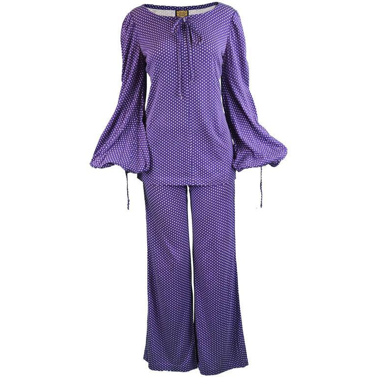 Biba Purple Polka Dot Two Piece Tunic Top and Palazzo Pant Suit, 1970s