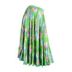 Emanuel Ungaro Accordion Pleated Green Floral Silk Midi Skirt, 1980s