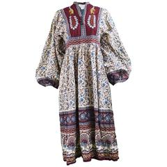 Vintage 1970s Indian Cotton Gauze Block Print Dress with Balloon Sleeves