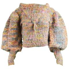 Gil Aimbez Pour Static Avant Garde Balloon Sleeve Fuzzy Wool Sweater, 1980s