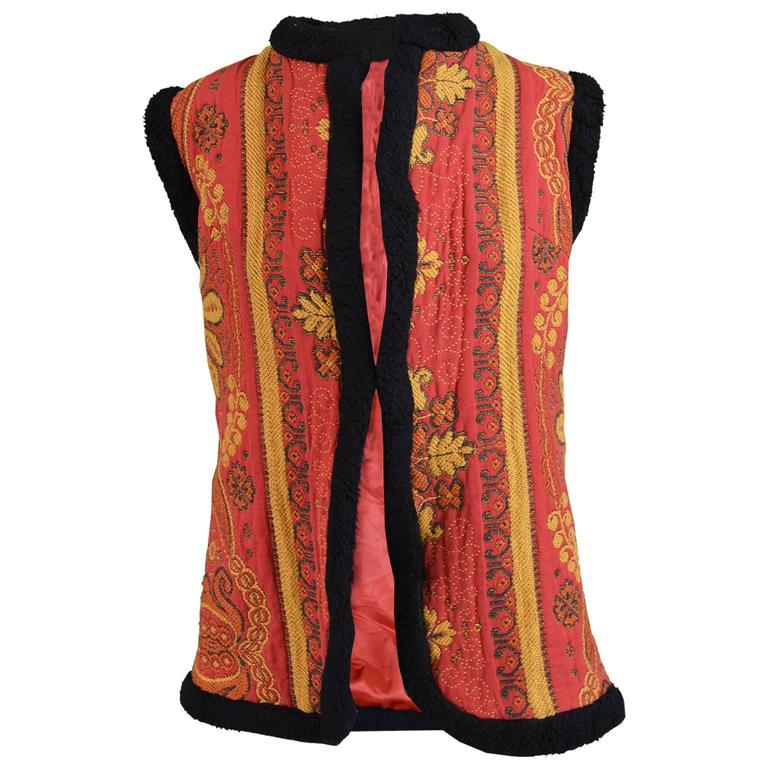Manon Maid Vintage Hippie Red & Black Afghan Style Floral Tapestry Vest, 1960s