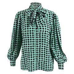 Yves Saint Laurent Green & Black Diamond Silk Pussybow Blouse, 1970s