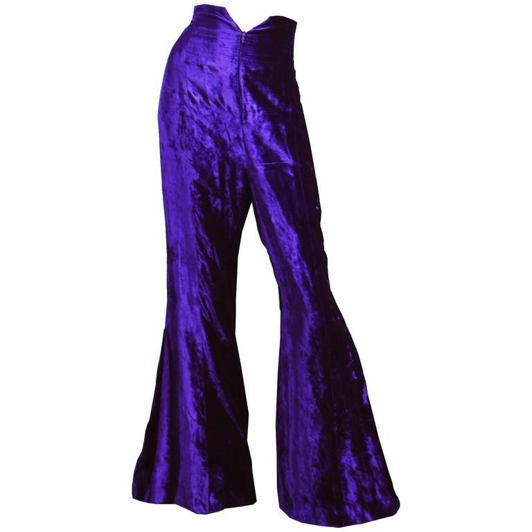 Norma Kamali OMO Purple Velvet Ultra High Waist Bell Bottom Flares, 1980s