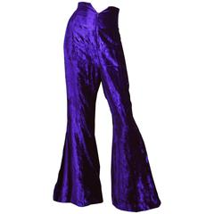 Norma Kamali OMO Purple Velvet Ultra High Waist Bell Bottom Flares, 1980s