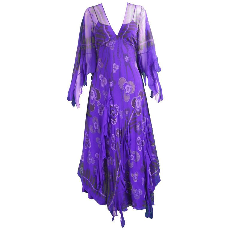 Zandra Rhodes Purple Floral Silk Chiffon Dress with Floor Length Train, c. 1970s