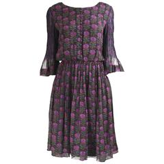 Treacy Lowe Indian Silk Chiffon Black & Purple Floral Embroidered Dress, 1970s