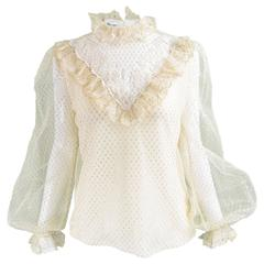 Albert Capraro Vintage Romantic Cream & Gold Lace Blouse, 1980s