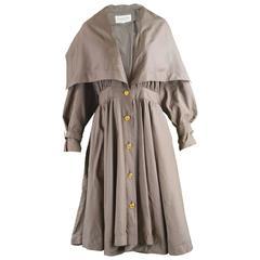 Balenciaga Vintage Silk Cape Collar Full Skirt Trench Coat Dress, c. 1988