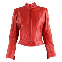 Jean Claude Jitrois Bright Red Café Racer Style Lambskin Leather Jacket