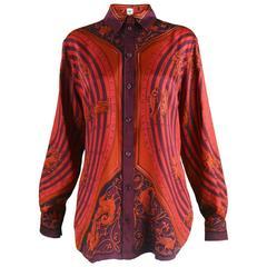 "Hermes Paris ""Astrologie"" by F Faconnet Womens Silk Twill Shirt"