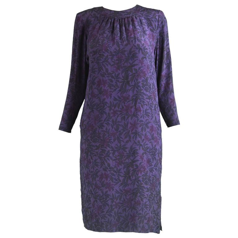 Hanae Mori Purple Vintage Hibiscus Print Simple Silk Shift Dress, 1980s For Sale