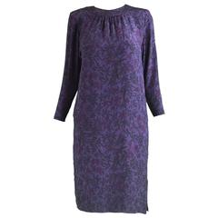 Hanae Mori Purple Vintage Hibiscus Print Simple Silk Shift Dress, 1980s