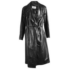 Gianni Versace Men's Black Leather Long Maxi Trench Coat, F/W 1998