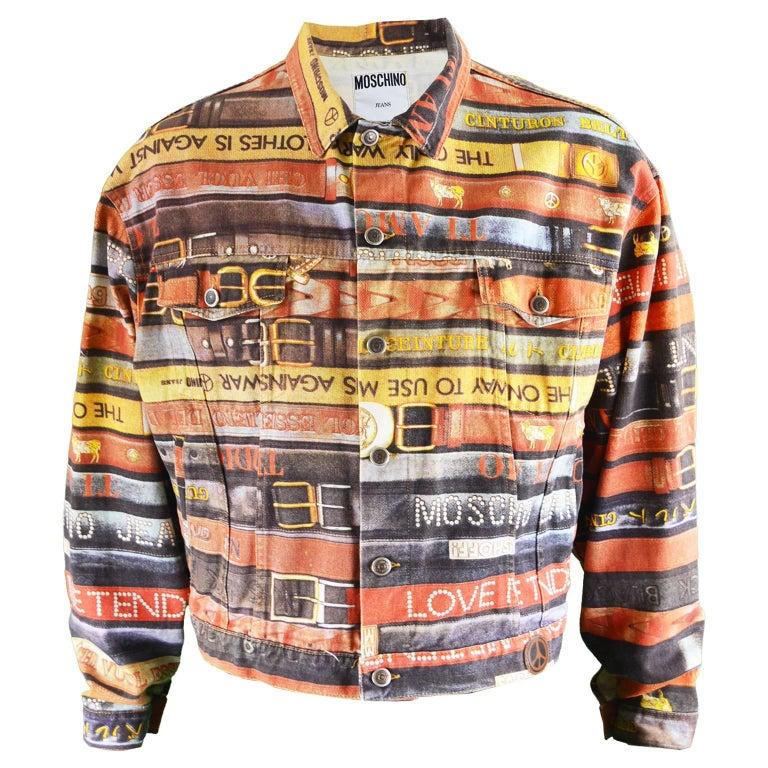 Moschino Iconic Belt Print Men's Vintage Denim Jacket, 1990s