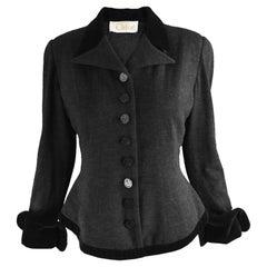 Chloe Vintage Dark Grey Wool Knit & Black Velvet Tailored Jacket, 1990s