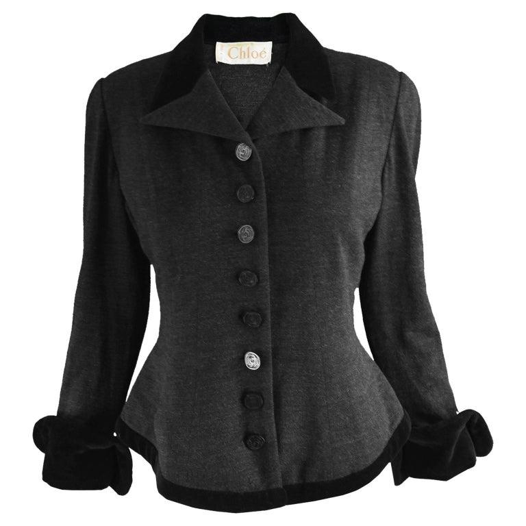 Chloe Vintage Dark Grey Wool Knit and Black Velvet ...