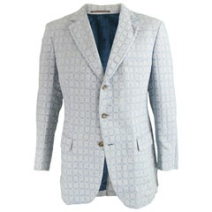 Aquascutum Mens Light Blue Windowpane Check Wool and Mohair Blazer, 1960s