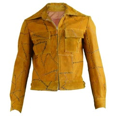 Vintage Men's Hand Crafted Tan Suede Whip Stitch Jacket, 1970s