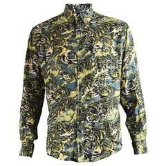 Kenzo Men's Vintage Iconic 'Flying Tiger' Print Button Down Shirt, 1990s