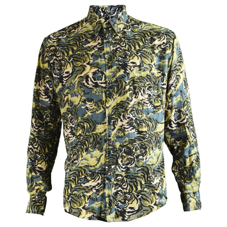 4b28dacdc8 Kenzo Men's Vintage Iconic 'Flying Tiger' Print Button Down Shirt, ...