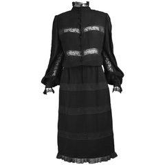 Di Marino Couture Black Silk & Sheer Lace Dress, 1970s
